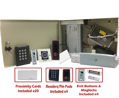 Complete Four Door Access Controller System Kit w/ Power Supply, Metal Box, Readers, Exit Buttons and MAG Locks