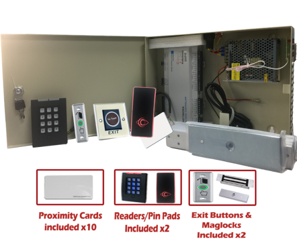 Complete Two Door Access Controller System Kit w/ Power Supply, Metal Box, Readers, Exit Buttons and MAG Locks