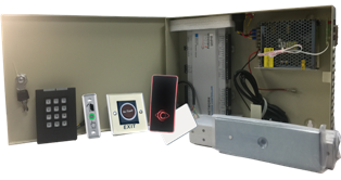 Two Door Access Controller System Kit w/ Power Supply, Metal Box, Readers, Exit Buttons and MAG Locks
