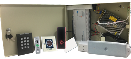 Four Door Access Controller System Kit w/ Power Supply, Metal Box, Readers, Exit Buttons and MAG Locks