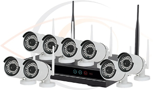 CCTV HD 8 Port Wireless NVR Surveillance System w/ Eight Wireless 2MP Cameras