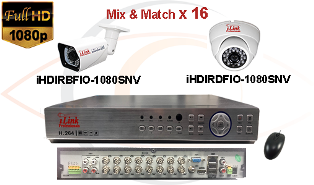 Complete CCTV HD Security Camera System 5 -in-1 1080p Standalone 16 Port H.264 DVR w/ 1080p HD Coax Cameras