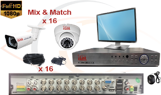 CCTV HD Security Camera System 5-in-1 1080p Standalone 16 Port DVR w/ 1080p HD Coax Cameras, Cables, HDD & Monitor