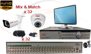 CCTV HD Security Camera System 5 -in-1 1080p Standalone 32 Port DVR w/ 1080p HD Coax Cameras, Cables, HDD & Monitor