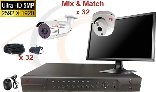 CCTV HD Security Camera System 5-in-1 5mp Standalone 32 Port DVR w/ 5mp HD Coax Cameras, Cables, HDD & Monitor