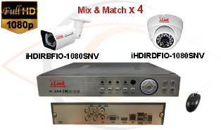 CCTV HD Security Camera System 5-in-1 1080p Standalone 4 Port DVR w/ 1080p HD Coax Cameras