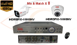 Complete CCTV HD Security Camera System 5 -in-1 1080p Standalone 8 Port H.264 DVR w/ 1080p HD Coax Cameras