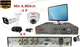 Complete CCTV HD Security Camera System 5 in 1 1080p Standalone 8 Port H.264 DVR w/ 1080p HD Coax Cameras, Cables, HDD & Monitor
