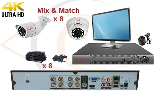 CCTV HD Security Camera System 5 in 1 4K/8MP Standalone 8 Port DVR w/ 4K/8MP HD Coax Cameras, Cables, HDD & Monitor