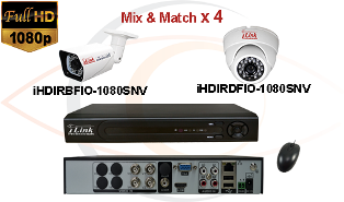 CCTV HD Security Camera System Tribrid 1080p Standalone 4 Port DVR w/ 1080p HD Coax Cameras