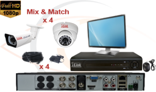 CCTV HD Security Camera System Tribrid 1080p Standalone 4 Port DVR w/ 1080p HD Coax Cameras, Cables, HDD & Monitor