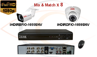 Complete CCTV HD Security Camera System Tribrid 1080p Standalone 8 Port H.264 DVR w/ 1080p HD Coax Cameras