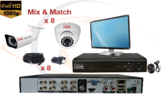 Complete CCTV HD Security Camera System Tribrid 1080p Standalone 4 Port H.264 DVR w/ 1080p HD Coax Cameras, Cables, HDD & Monitor